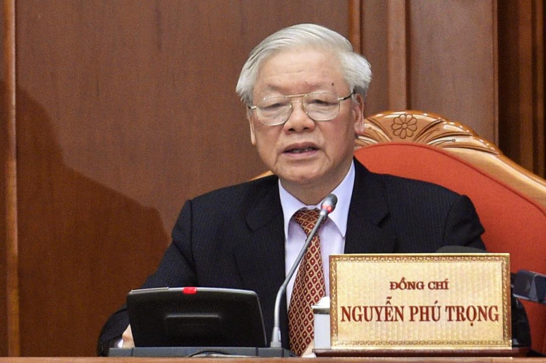 Tổng Bí thư, Chủ tịch nước Nguyễn Phú Trọng phát biểu tại bế mạc Hội nghị lần thứ 12 Ban Chấp hành Trung ương Đảng khóa XII. Ảnh: VGP/Nhật Bắc
