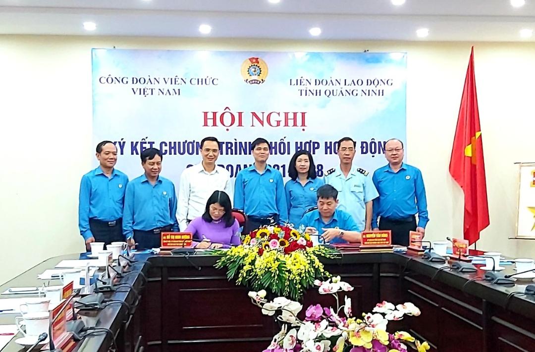 Công đoàn viên chức Việt Nam và LĐLĐ tỉnh ký kết chương trình phối hợp.